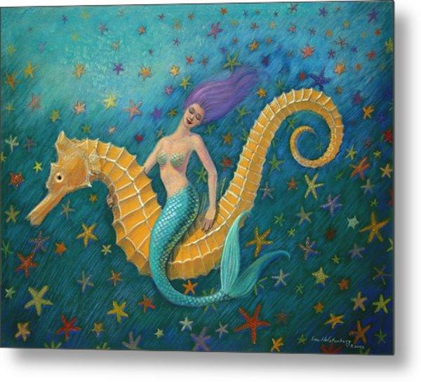Seahorse Mermaid Metal Print