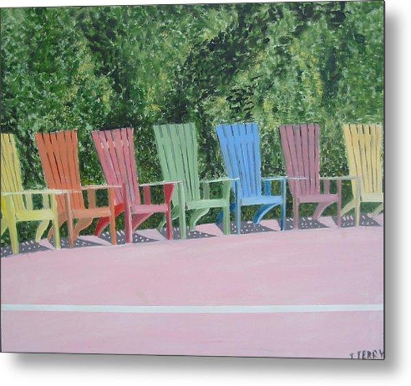 Seaside Chairs Metal Print by John Terry