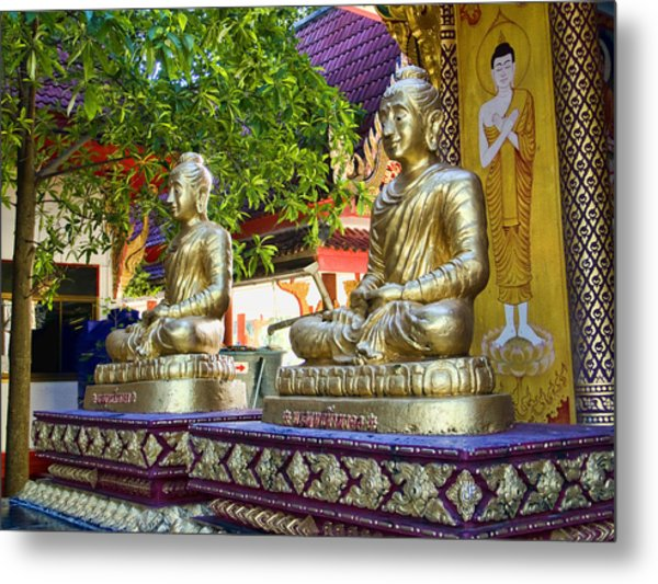 Seated Buddhas Metal Print