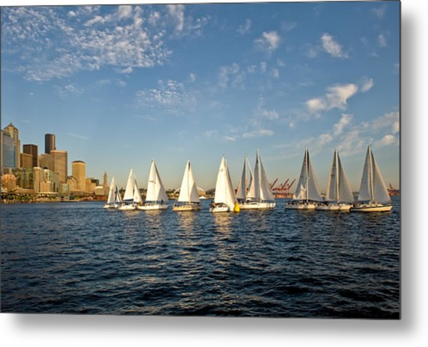 Seattle Sailboat Race Metal Print by Tom Dowd