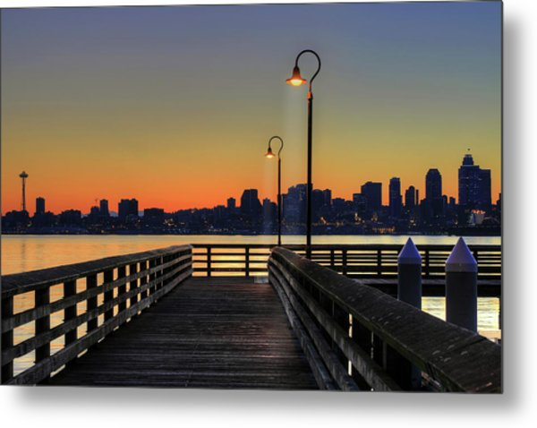 Seattle Skyline From The Alki Beach Seacrest Park Metal Print