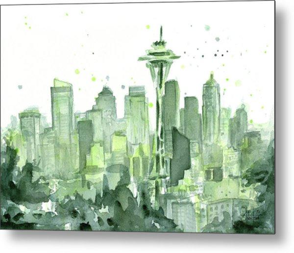 Seattle Watercolor Metal Print