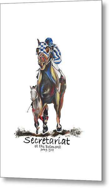 Secretariat At The Belmont Mural Metal Print by Amanda  Sanford