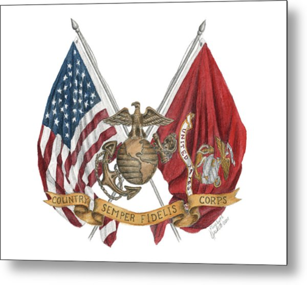 Semper Fidelis Crossed Flags Metal Print