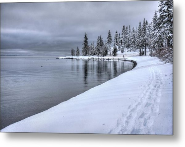 Serene Beauty Of Lake Tahoe Winter Metal Print