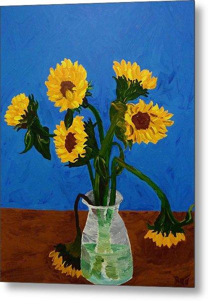 Seven Sunflowers In Vase Metal Print