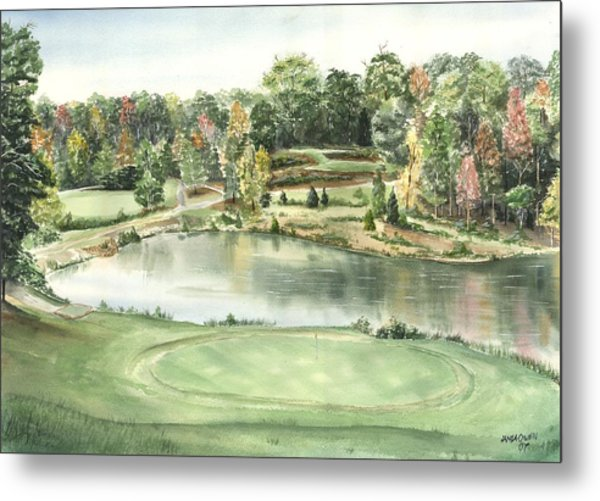 Seventeen Green The Trails Golf Course Metal Print by Lane Owen