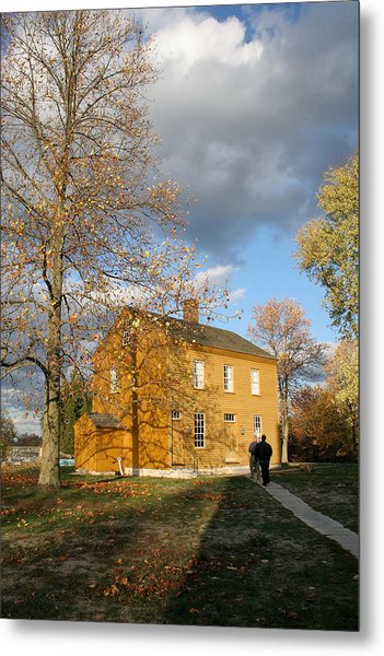 Shaker Building In The Fall Metal Print by Angie Bechanan