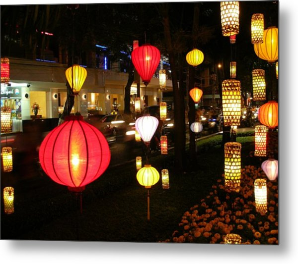 Silk Lamp Shades On The Street In Saigon Metal Print