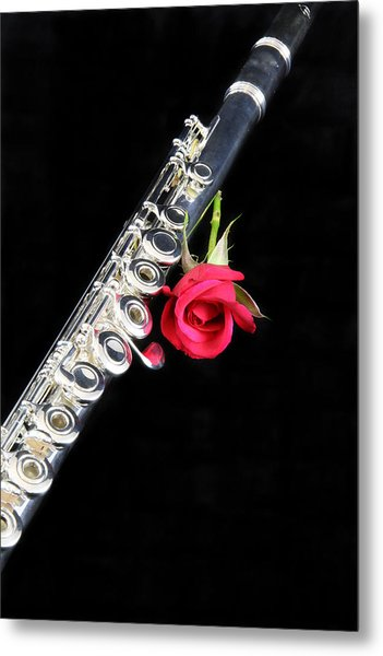 Silver Flute Red Rose Metal Print