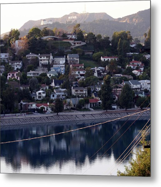 Silver Lake Reservoir And Hollywood Hills Metal Print