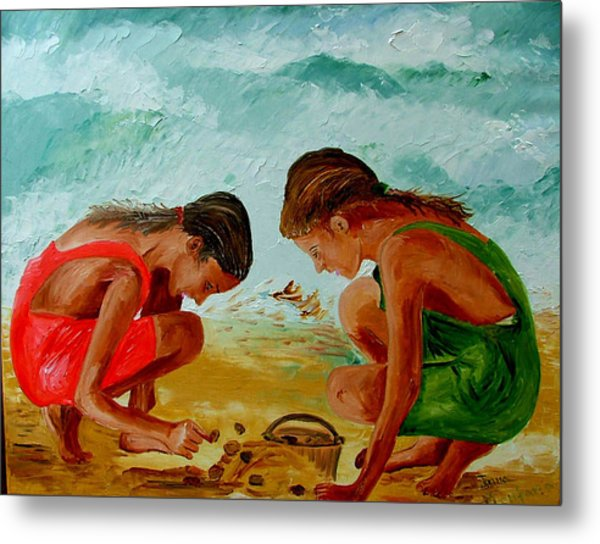 Sisters On The Beach Metal Print by Inna Montano