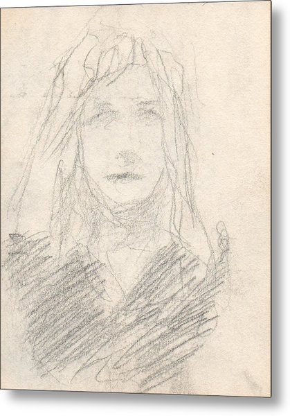 Sketch Of A Girl Metal Print by T Ezell