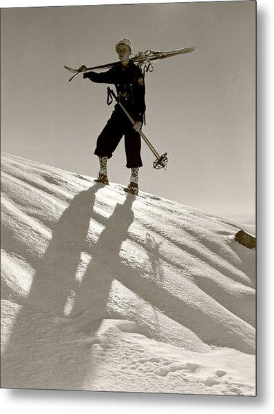 Skier Metal Print by Unknown