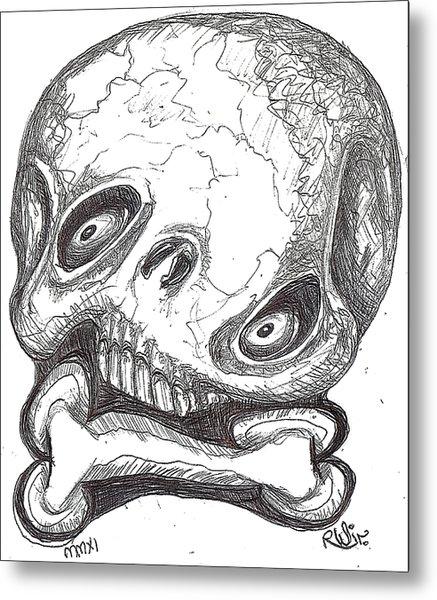 Skullnbone Twisted Metal Print by Robert Wolverton Jr