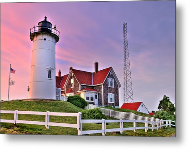 Sky Of Passion - Nobska Lighthouse Metal Print