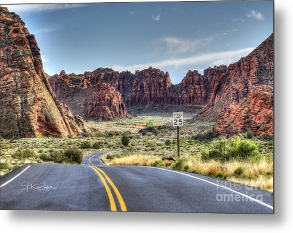 Slow Down In Snow Canyon Metal Print