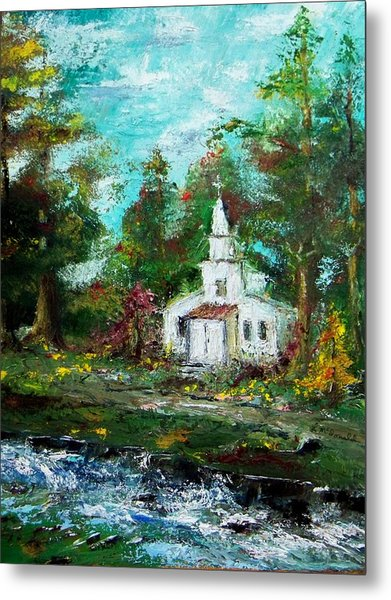 Smokey Mountains Church Metal Print by Lynda McDonald