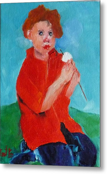 S'mores Eating Metal Print by Irit Bourla