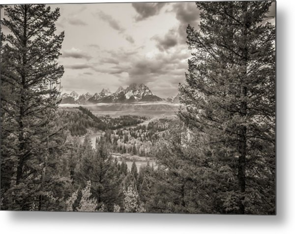 Snake River Overlook Grand Teton Monochromatic Metal Print