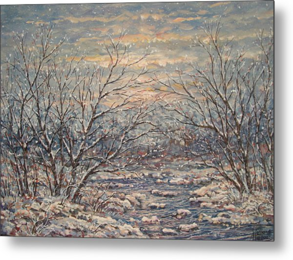 Snow By Brook. Metal Print