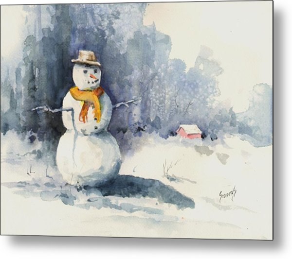 Snowman Metal Print