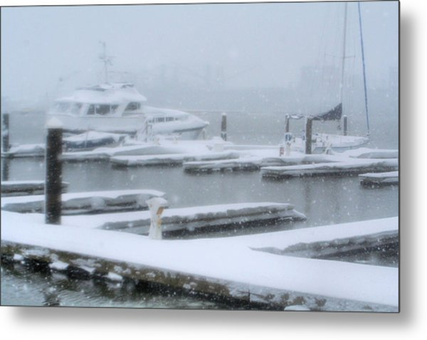 Snowy Harbor Metal Print