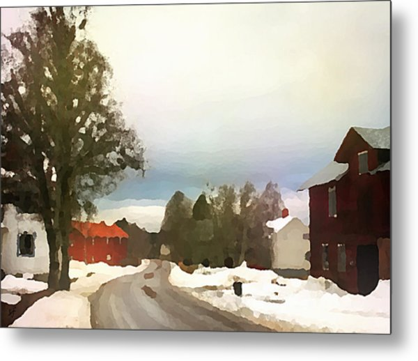 Snowy Street With Red House Metal Print