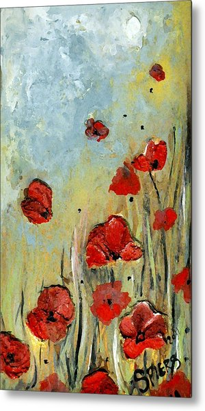 Sold Mom And Poppies Metal Print by Amanda  Sanford