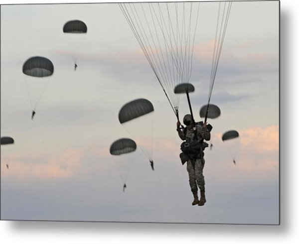 Soldiers Of The 82nd Airborne Descend Metal Print by Everett