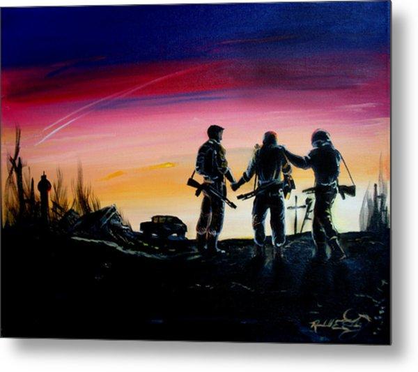 Soldiers Pray II Metal Print by Randall Easterling