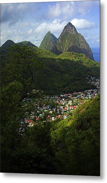 Soufriere Village- St Lucia Metal Print