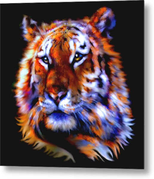 Metal Print featuring the painting Soulful Tiger by Elinor Mavor