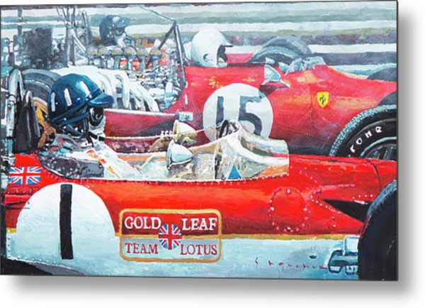 Spain Gp 1969  Lotus 49 Hill  Ferrari 312 Amon  Lotus 49b Rindt  Metal Print