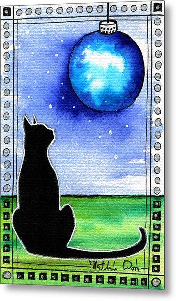 Sparkling Blue Bauble - Christmas Cat Metal Print