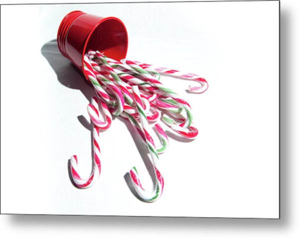 Spilled Candy Canes Metal Print