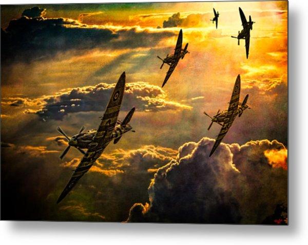 Spitfire Attack Metal Print