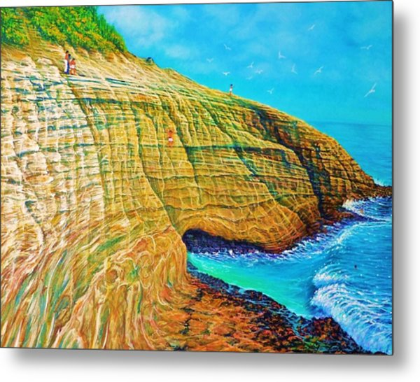 Spitting Caves Of Portlock Point Metal Print