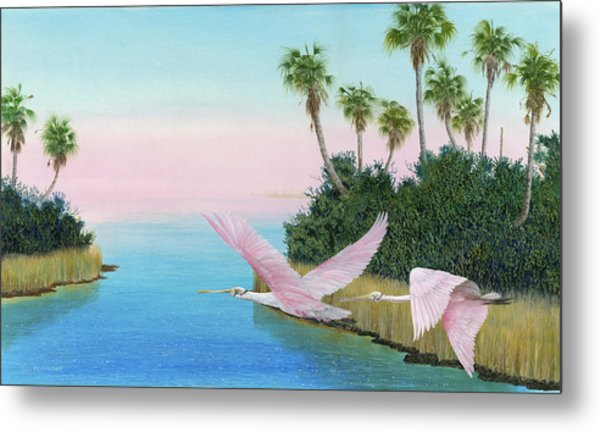 Spoonbills In Flight Metal Print