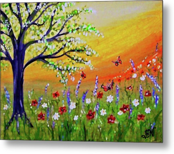 Metal Print featuring the painting Spring Has Sprung by Sonya Nancy Capling-Bacle