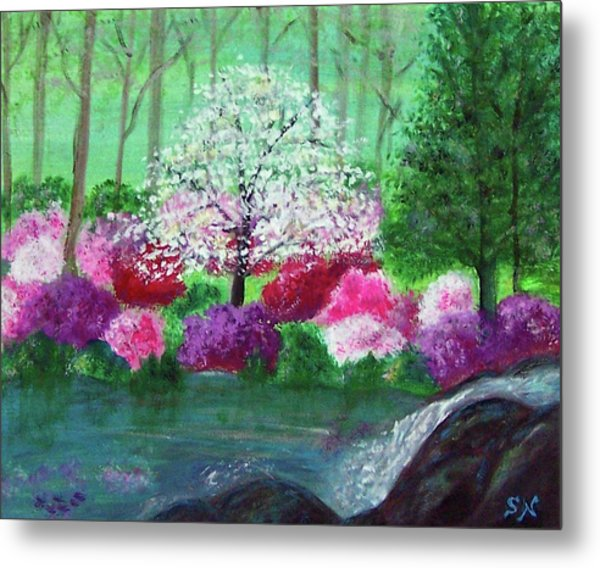Metal Print featuring the painting Springtime Azaleas In Georgia by Sonya Nancy Capling-Bacle