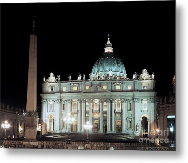 St Peter's Basilica By Night Metal Print