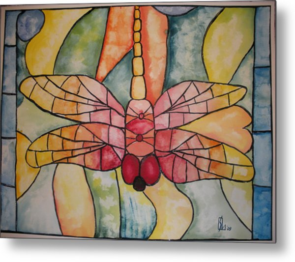 Stained Glass Dragonfly Metal Print