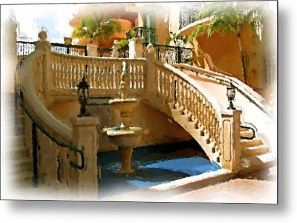 Staircase And Fountain Metal Print by Ralph Liebstein