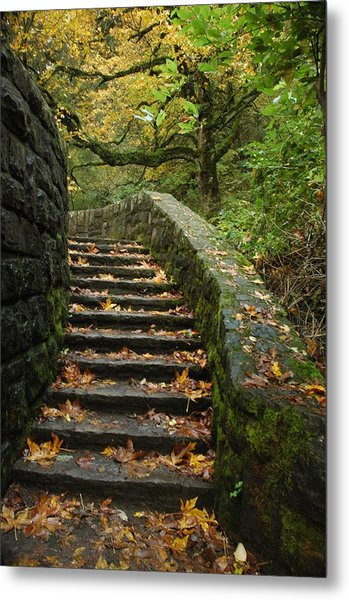 Stairway To Fall Metal Print by Lori Mellen-Pagliaro