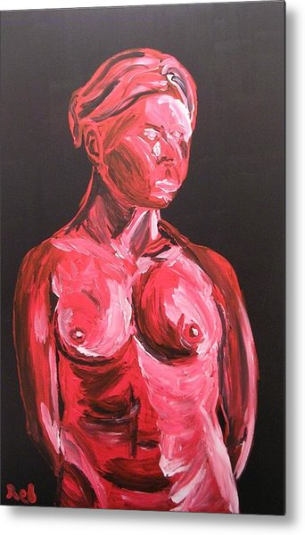Standing Nude In Red Metal Print