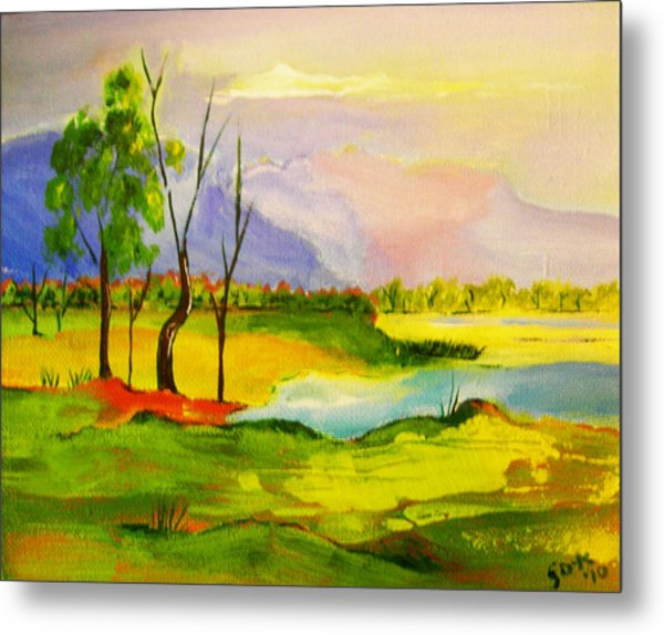Stanthorpe Wine In My Glass Metal Print