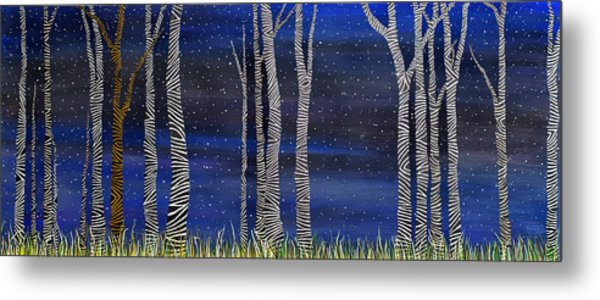 Starry Night In The Zebra Forrest Metal Print