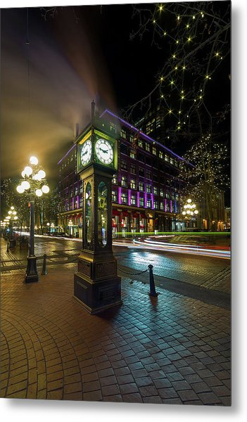 Steam Clock In Gastown Vancouver Bc At Night Metal Print