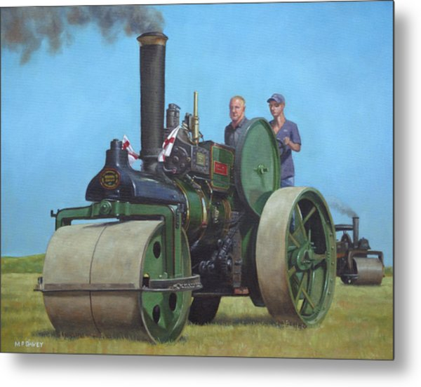 Steam Roller Traction Engine Metal Print